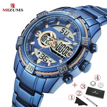 MIZUMS Top Luxury Brand Men Watch Big Dial Sport Digital Blue Mens Chronograph Quartz Watches Date Male Clock Relogio Masculino