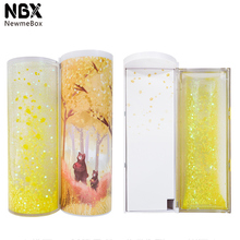 NBX Quicksand 반투명 크리 에이 티브 다기능 원통형 케이스 편지지 펜 랙 Newmebox 골드 이동 2019 ipen 연필 상자