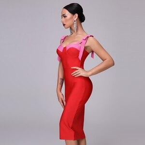 Image 3 - 高品質セクシーな赤パーティー包帯クリスマスドレス 2020 新もみじ女性のファッションエレガントなパーティースパゲッティ弓ボディコンドレス