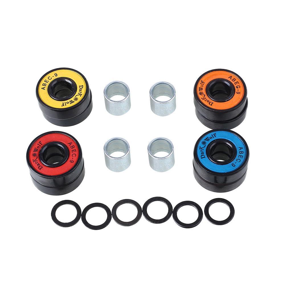 8pcs Skateboard Roller Skate Parts Bearings With Washer Spacer Box Kit Set