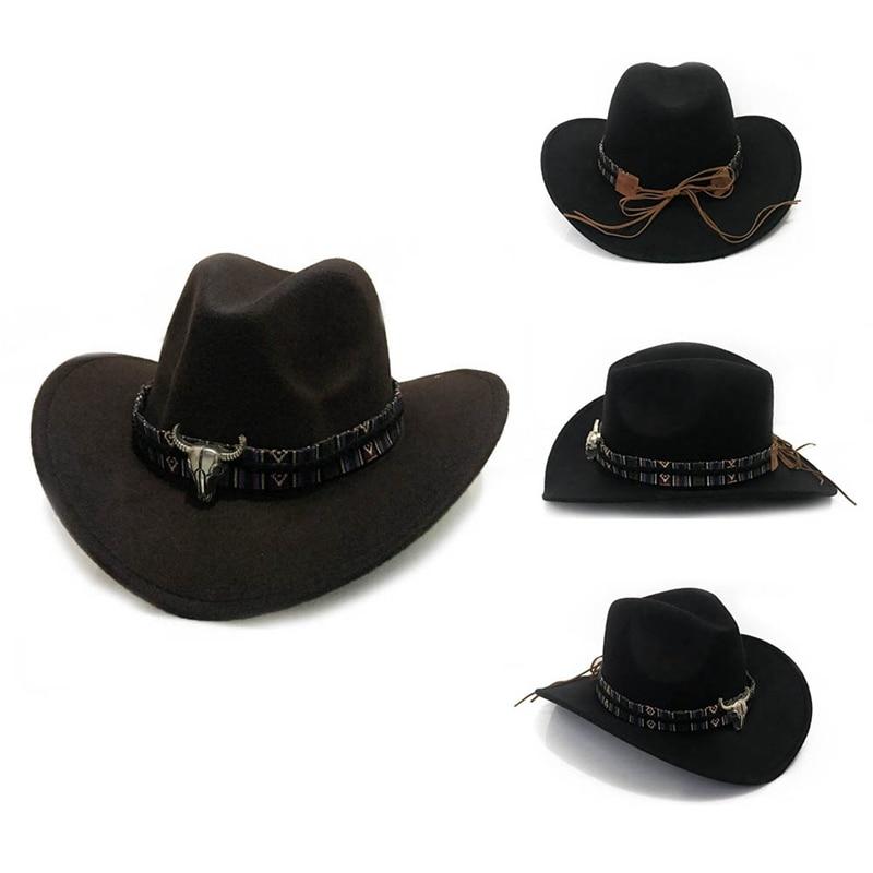 Women Men Western Cowboy Hats With Punk Belt Winter Autumn Jazz Rock Hats Fashion Jazz Caps Size 57-58CM