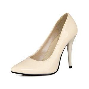Image 5 - Zawsthia Patent Pu Lederen Vrouw Dunne Hoge Hakken Kleurrijke Geel Groen Stiletto Office Lady Pumps Schoenen Big Size 46 47 48