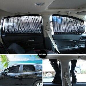 2 pçs janela do carro cortinas carros acessórios anti uv ajustável privacidade proteger sol sombra cortina de carro 50 s 50l 70 s 70l|Toldos p/ janela lateral| |  -