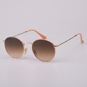 Image 5 - Real Glass Lens UV400 Retro Round Sun glasses sunglasses men women luxury designer brand feminine oculos de sol 3447