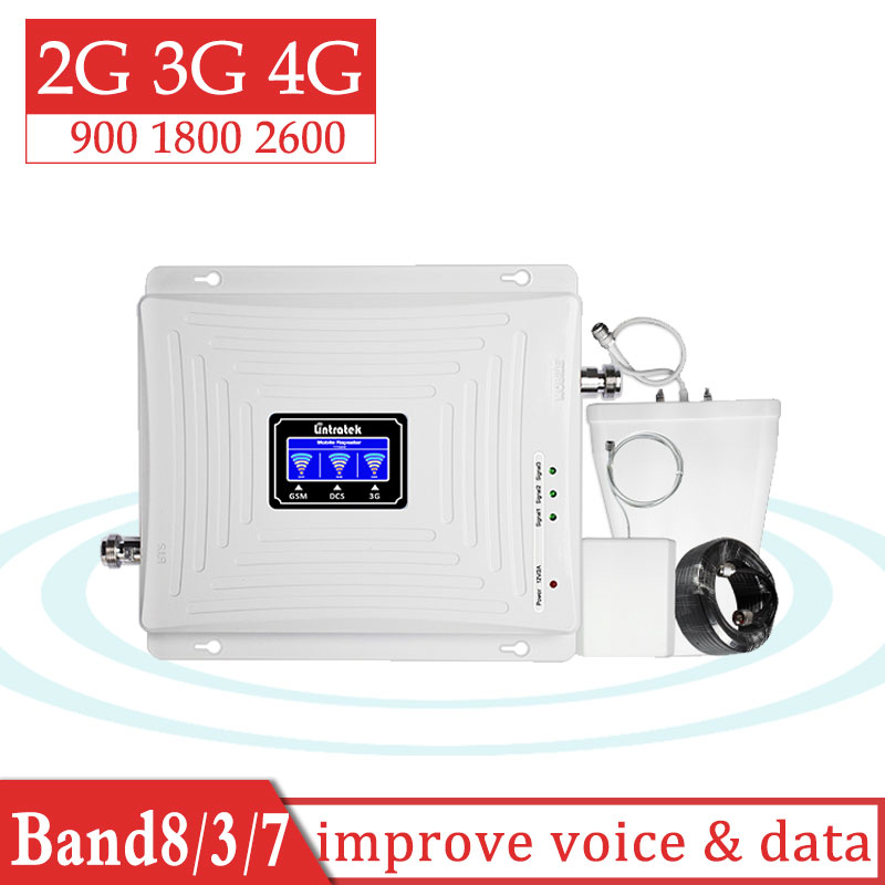 Lintratek 900 1800 2600 Tri Band GSM DCS LTE 4g  Signal Booster GSM 900mhz Cellular Cellphone Call & Voice Full Set Amplifier Gs