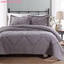Ensemble de couette de couleur unie | Tissage en fils de fer, gris, kaki, 100% coton, couvre-lit matelassé, couvre-oreiller Super doux, pour toutes les saisons, 3 pièces
