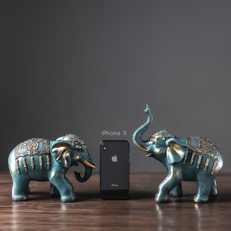 Elephant Figurines Craft Carved Natural Resin Animals Statue For Decor Chakra Healing Home Decoration Accessories  Europe