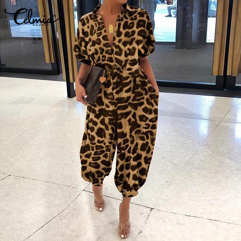 Celmia Leopard Print Rompers Women Vintage Jumpsuits Female Short Sleeve Cargo Pants Button Casual Loose Plus Size Harem Overall