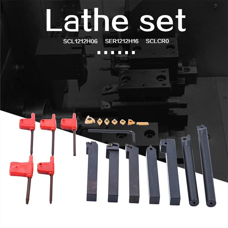 Bar + Insert + Chave Shank Torno Virando Ferramenta Chato Titular S12m-sclcr06 Ser1212h16 Scl1212h06 12mm 21 Pçs – Set Mod. 134442