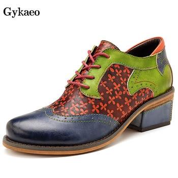 Gykaeo Woman Plus Size Block Heel Shoes 2019 Autumn Genuine Leather Women Shoes Lace Up Retro Oxford Pumps Ladies Brogue Shoes