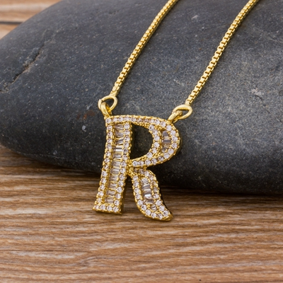 Luxury Gold Color A-Z 26 Letters Necklace CZ Pendant for Women Cute  Initials Name Necklace Fashion Party Wedding Jewelry Gift 9