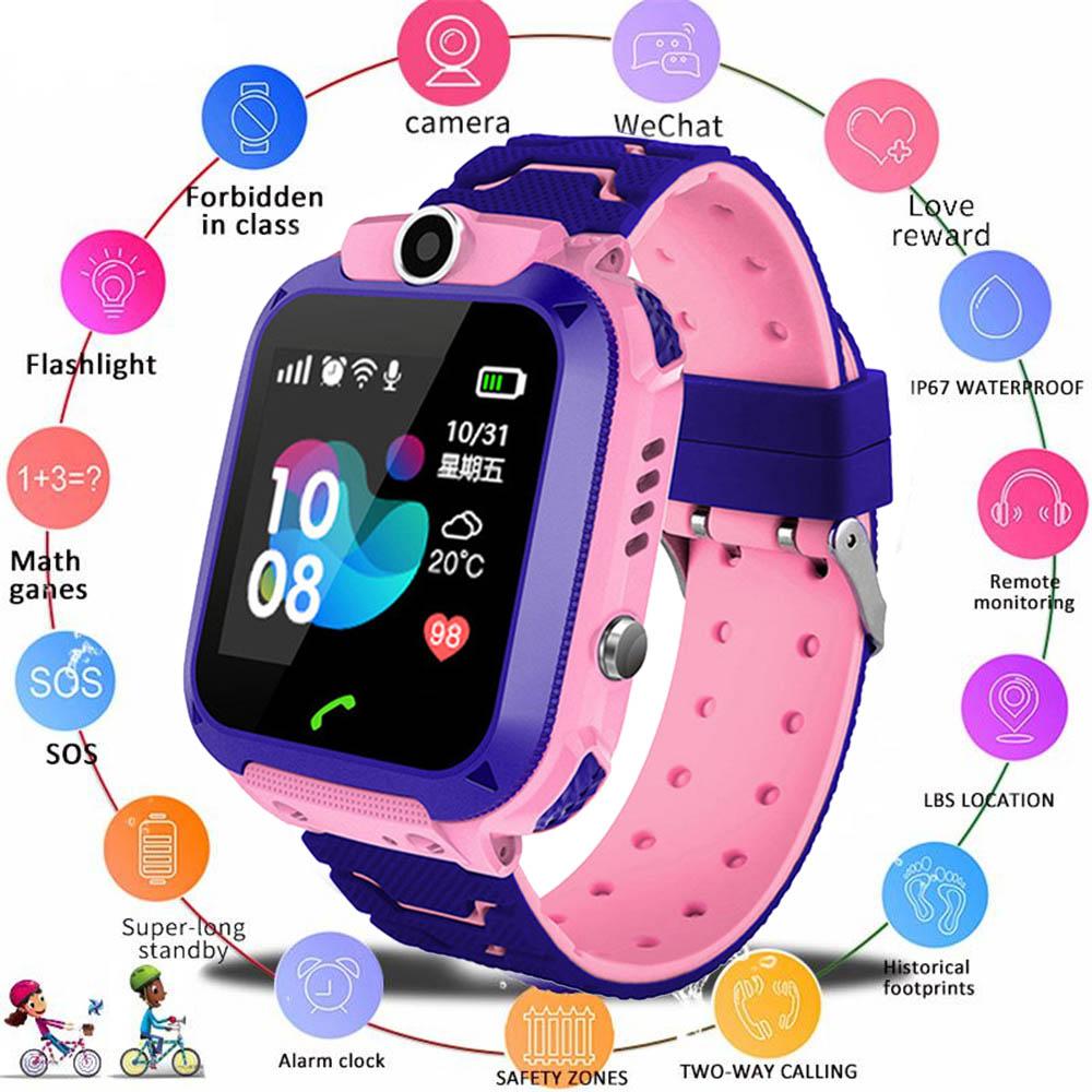 Q12 Детские smart watch дети глобальная версия водонепроницаемый сим-карта вызова фотографировать французский русская версия, испанский, португальский-4