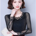 Autumn Black Mesh Lace Upper Garment WOMEN'S Long Sleeve Hollow out Large Size Slim Fit Fashion Western Style Lace Shirt Underwe