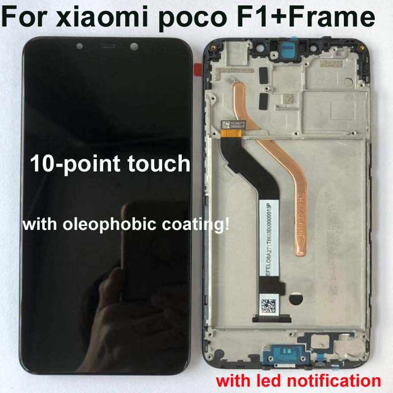 "100% Original+Frame For 6.18"" Xiaomi poco F1 LCD Display Touch Screen Digitizer Assembly for xiaomi mi Pocophone F1(10 point)"