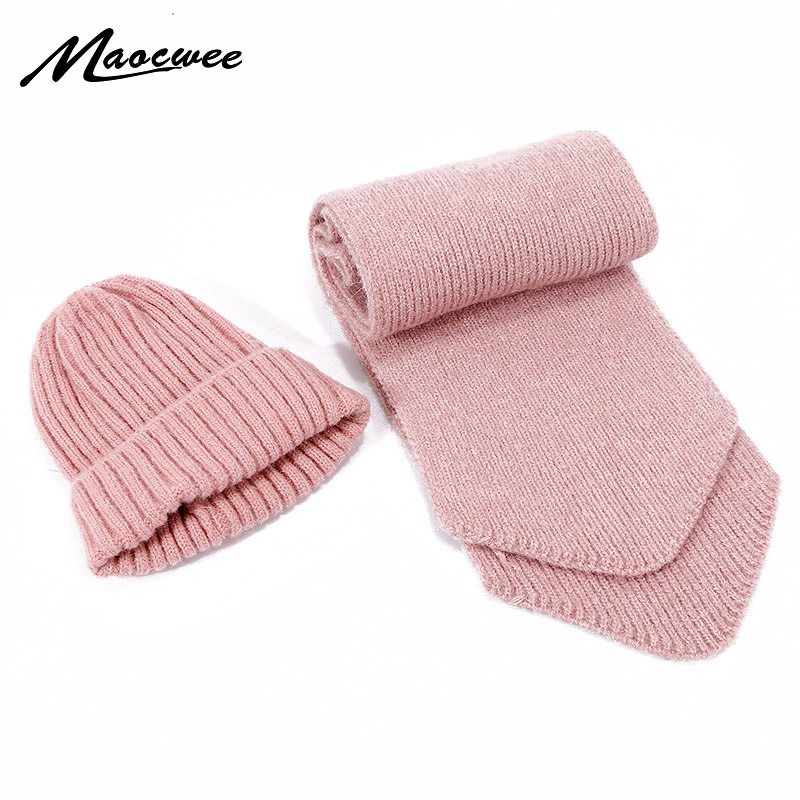 New Cute Children Wool Beanie Hat Scarf Set Boys Girls Winter Knittted Thicke Warm Skullies Hat Scarves Kid Baby Cotton 2 Pieces