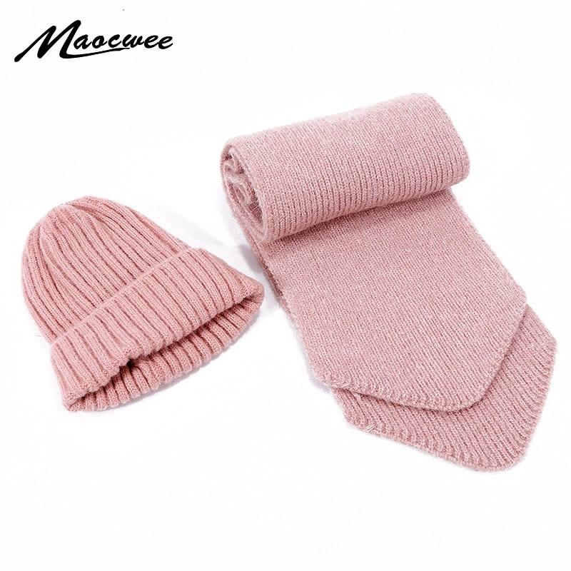 New Cute Children Wool Beanie Hat Scarf Set Boys Girls Winter Knittted Thicke Warm Skullies Hat Scarves Kid Baby Cotton 2 Pieces