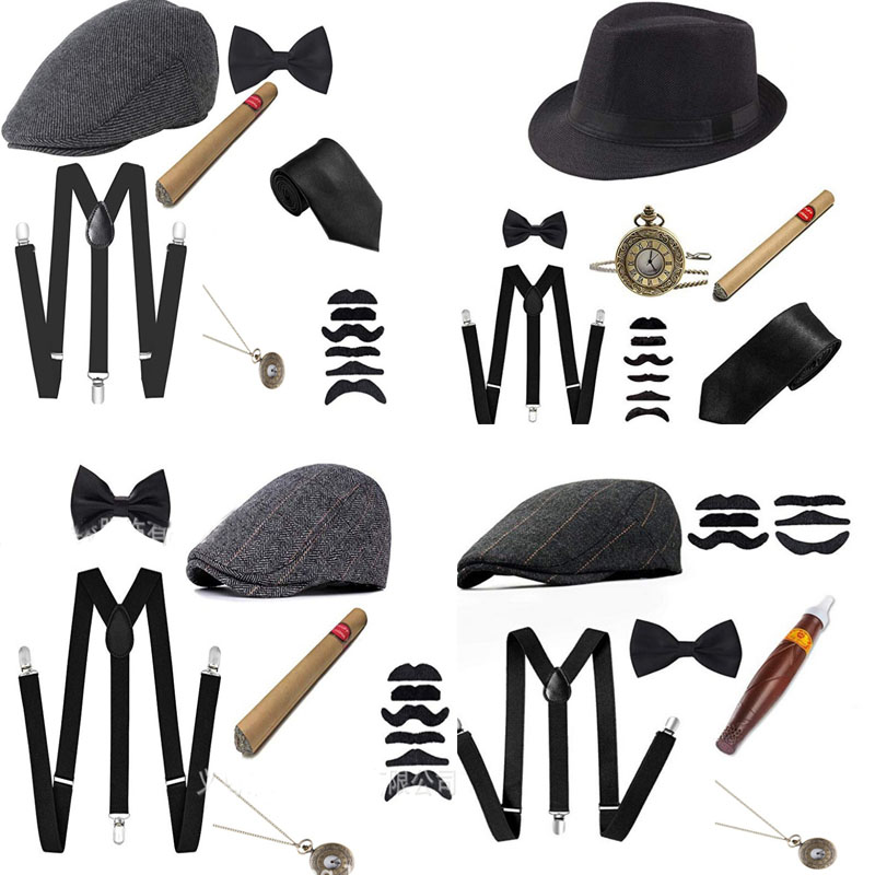 1920S 20S Cosplay <font><b>Gangster</b></font> Set Men's party Props Berets Cigar suspender Pocket Watch Gatsby Costume Accessories image