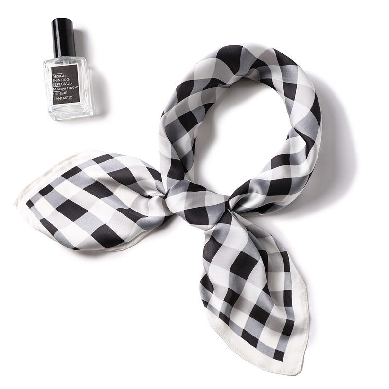 Silk Scarf For Women Plaid Print Square Neck Scarves Hair Wraps Bandana Lady Small Shawls Hijab Pashmina Foulard Kerchief
