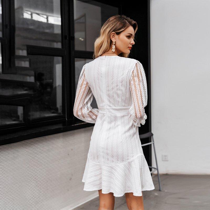 Elegant V-Neck Geometric Hollow Out White Dress 5