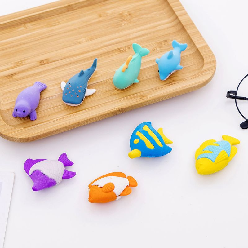 4pcs/set Creative Ocean Animal Pencil Rubber Eraser School Student Korean Stationery Correction Supplies For Kids Gifts LX9A