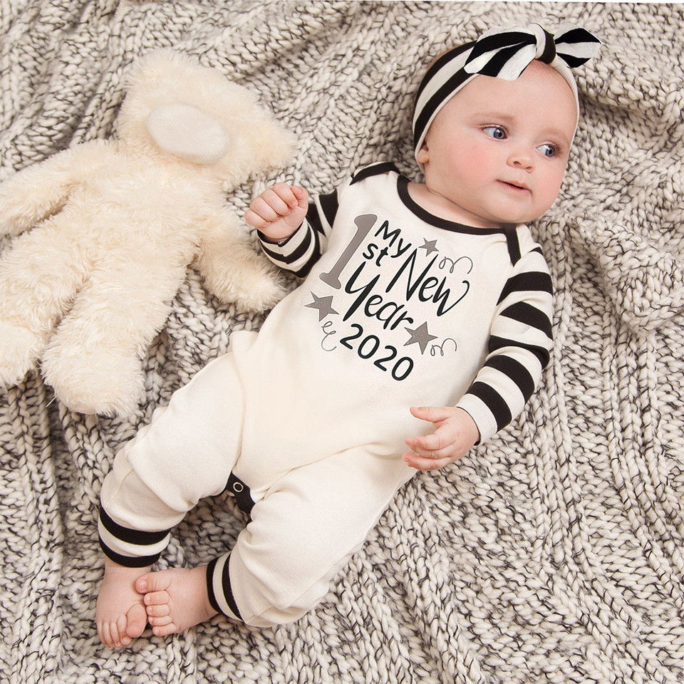3pcs Infant Newborn Outfit Baby Girls Boys Happy New Years Jumpsuit Romper Hairband Hat Casual Clothes Conjunto Infantil Menino Clothing Sets Aliexpress
