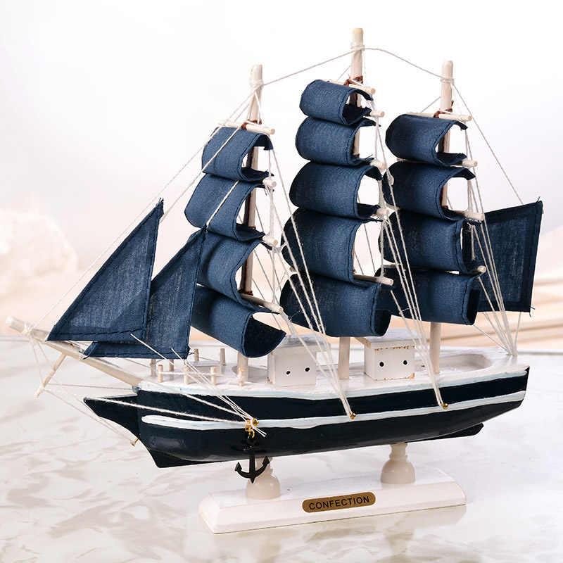 Ship Model Wooden Sailing Ship Mediterranean Style Home Decoration Handmade Carved Nautical Boat Model For Children Gift