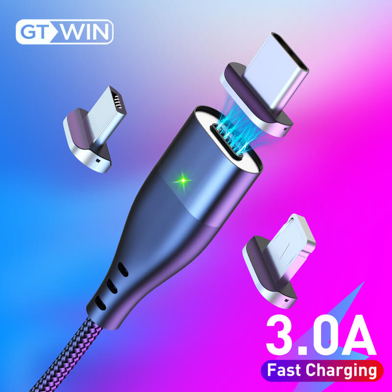 GTWIN 3A Magnetic USB Cable Fast Charging Micro Magnet Type C Cord For Samsung S10 S9 S8 Plug s7 s6 Data Charge Charger USB Cord|Mobile Phone Cables| |  - AliExpress
