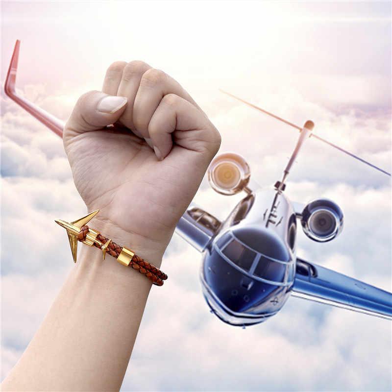 Nowa moda złoto ze stali nierdzewnej kotwica samolot bransoletki z w stylu Vintage prawdziwej skóry bransoletka mężczyzna kobiet biżuteria Homme