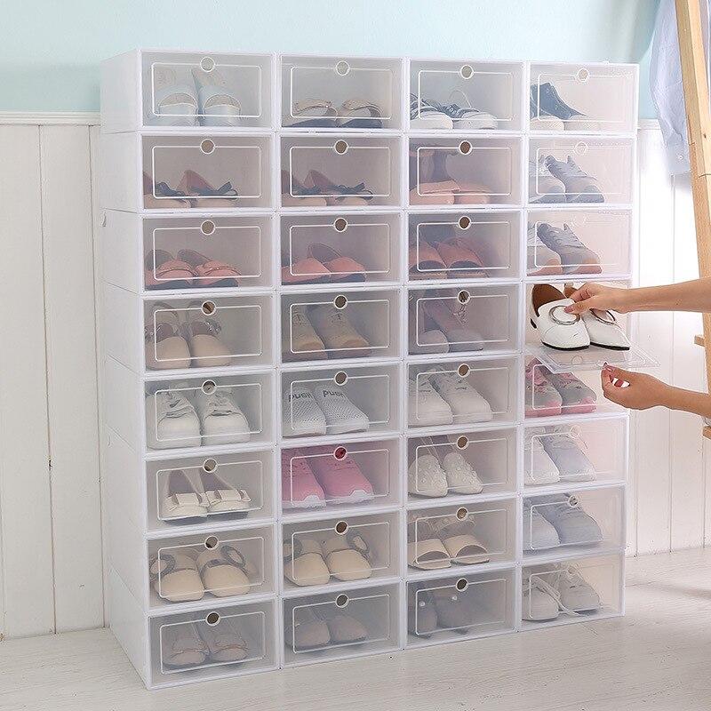 6 pçs/set Engrossado Sapatos Organizador Gaveta Caixas de Sapato Gaveta Transparente Caso Caixa Caixas De Armazenamento De Plástico Empilháveis
