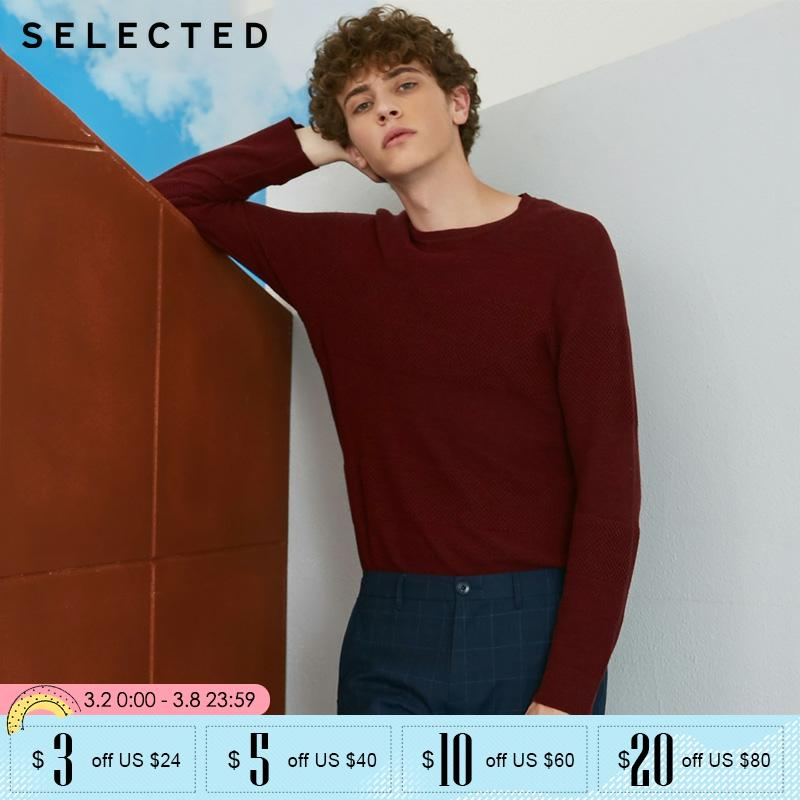 SELECTED Men 100% Cotton Round Neck Knitted Sweater | 418324527