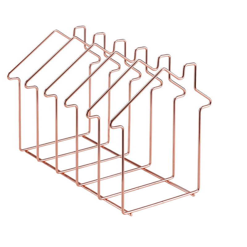 Magazine Holder File Sorter Metal 5 Slot Desk Organizer Rack For Document Folder Letter And Book Rose Gold House Shape