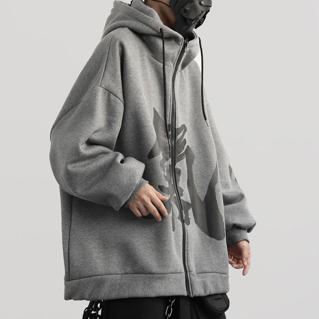 Trend Velvet Hooded Chinese Characters Plush Winter Loose Couple Zipper Hip Hop Harajuku Streetwear Cotton Hoodie  Oversized 2