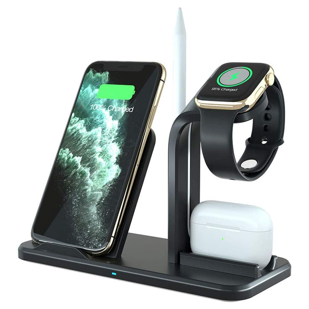 10W 3 in 1 Wireless Charger Fast Charging Station for iPhone 11/XR/X/Xs/8 Wireless Charging Dock Stand for Apple Watch Airpods