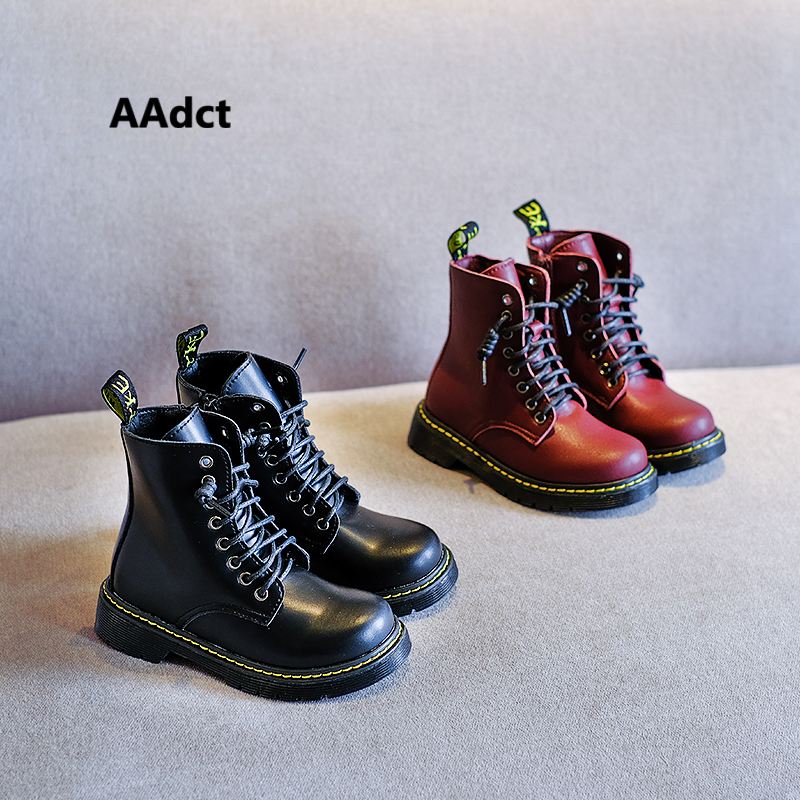 AAdct Girls Boots 2019 Autumn New Handmade Martin Kids Boots For Boys Brand Little Children Shoes High-quality Leather Rubber