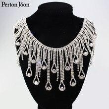 Cadena de diamantes de imitación decorativos, cristal con borla larga, volante de flecos, plata, cristal, accesorios de ropa, ML075