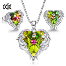 CDE Women Jewelry Set Embellished With Crystals Necklace Stud Earring Set Angel Wing Jewelry Valentine's Day Gift(China)