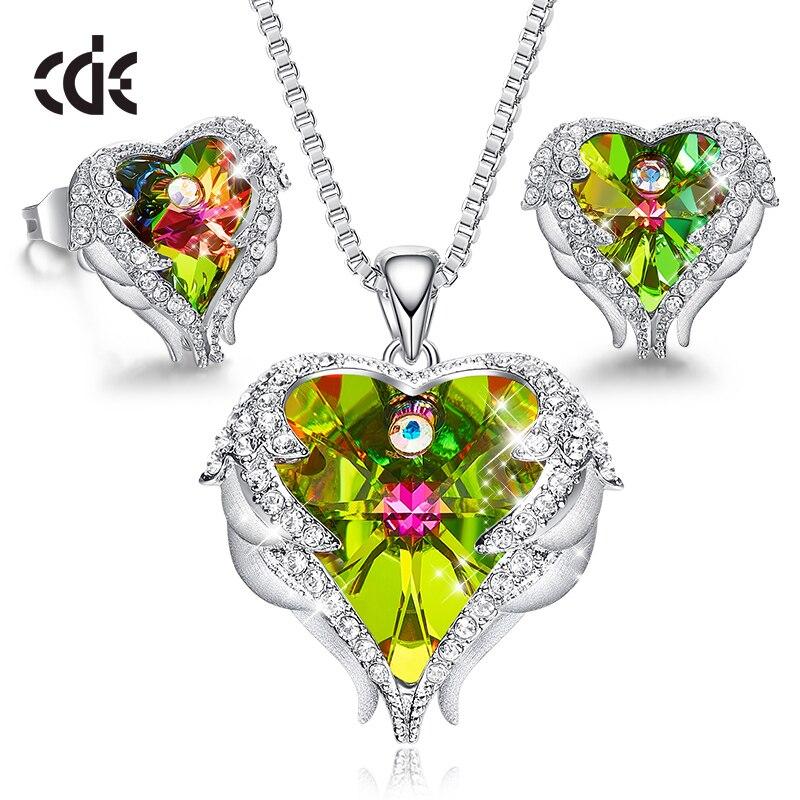 Takı ve Aksesuarları'ten Takı Setleri'de CDE bayan mücevher seti kristalleri ile süslenmiş kolye düğme küpe seti melek kanat takı sevgililer günü hediyesi'da  Grup 1
