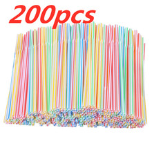 Flexible Straws Plastic Drinking-Straws Juice Party Multicolor for Weddings Striped Long