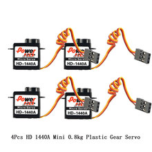 купить 4Pcs Power HD 1440A Micro Mini 0.8kg Steering Analog Plastic Gear Servo High Torque for RC Car Robot Airplane Drone DIY дешево