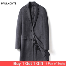 PAULKONTE 2019 New Mens Long Coat High Quality Fashion Turndown Collar Trend Gentleman Wild Jacket (With Liner Filling)