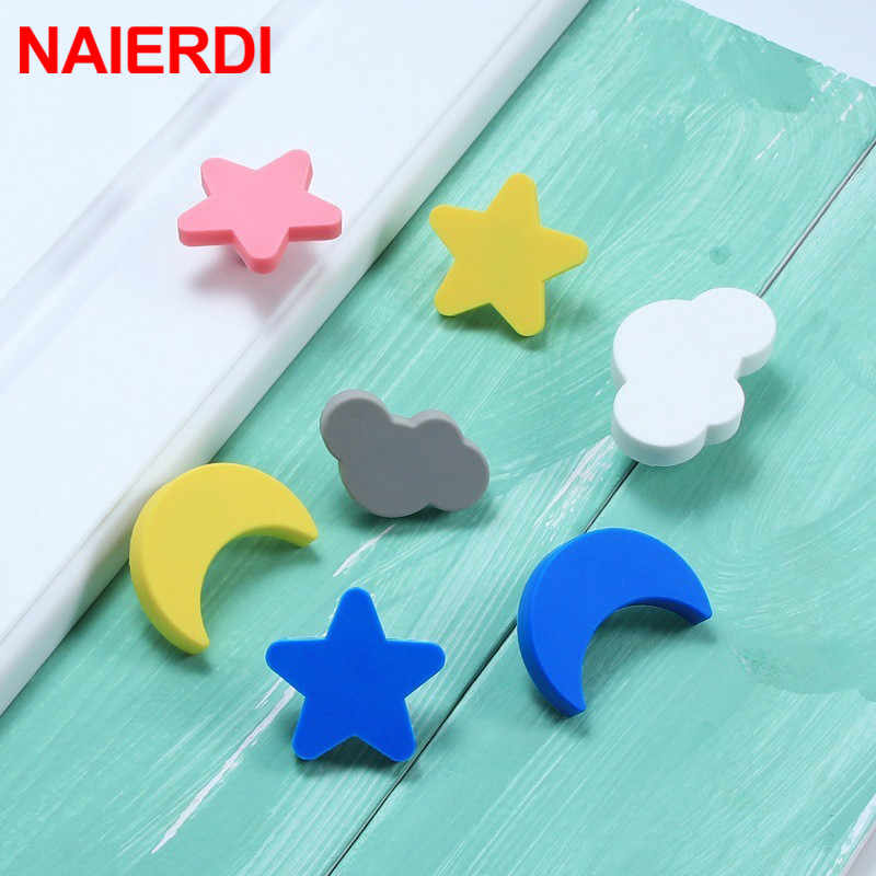 NAIERDI Moon Star Cartoon Furniture Handles Children Room Knobs Handles PVC Cloud Door Knob Kids Drawer Cabinet Pulls for kids