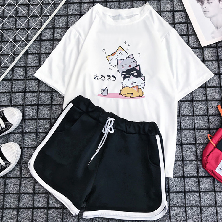 Milinsus Women 2 Piece Set Short Sleeve Cute Cat Print Tshirt +Shorts Suit 2020 Summer Sweatsuit Sets Woman Two Piece Outfits