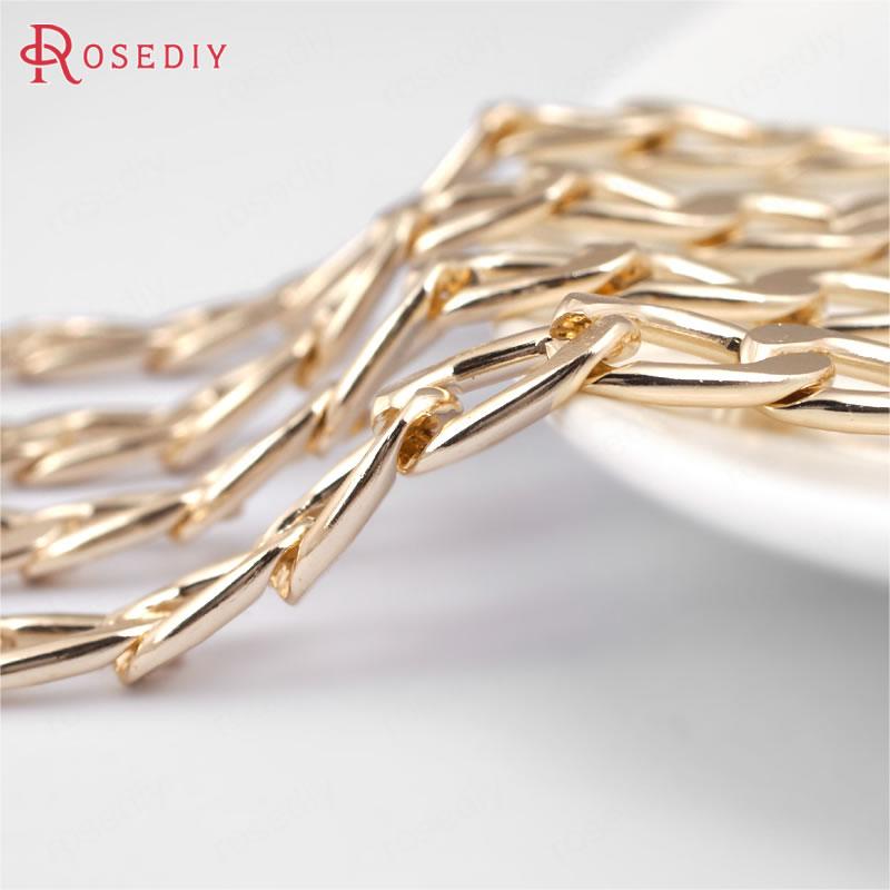 Плоские увеличенные цепи с покрытием цвета шампанского (29871)