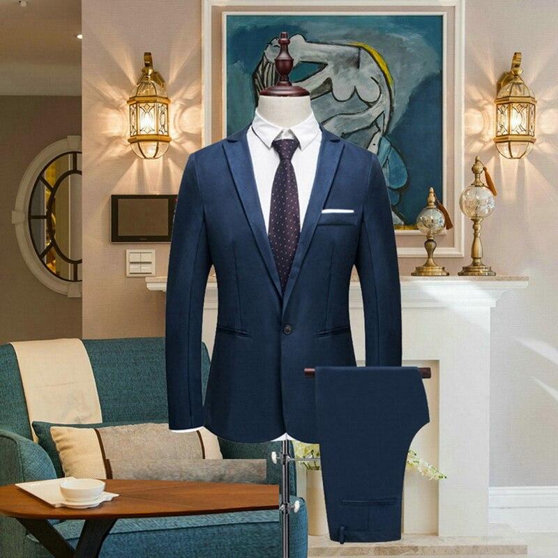 2019 Men's Blazer Suit Sets Wedding Business Groomsman Dress Suit Pants Sets Male Blazers Slim Suits Jacket Pants Formal