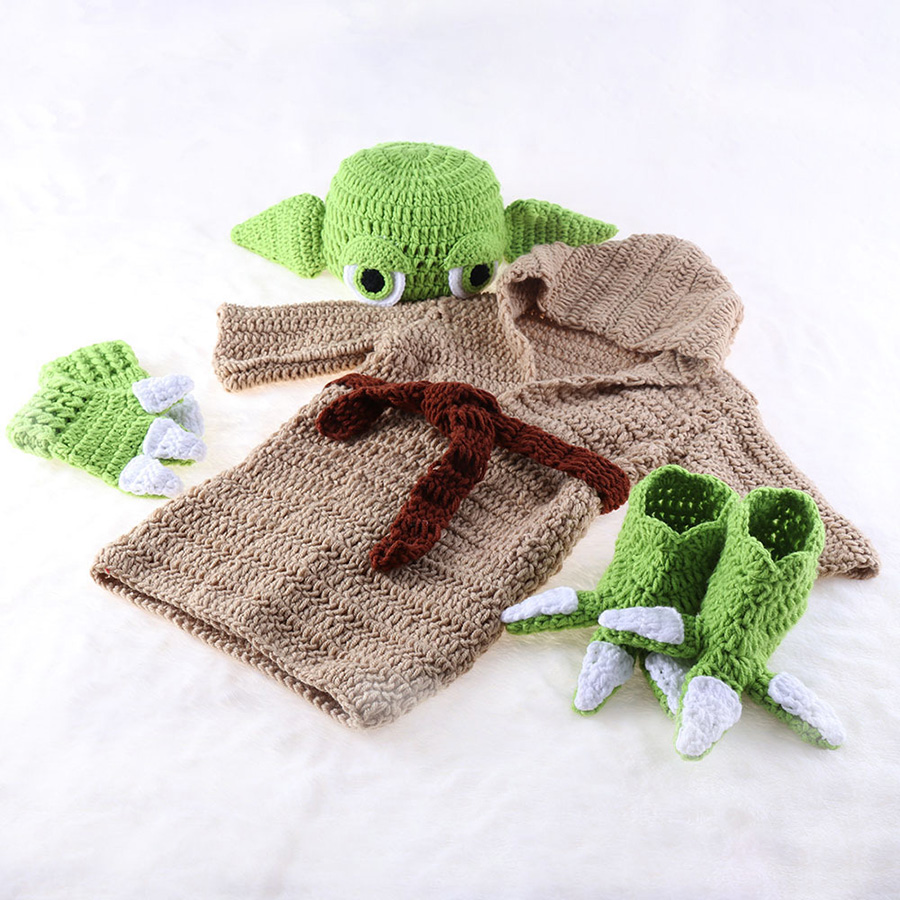 Yoda Style Newborn Infant Baby Photography Prop Crochet Knit Costume Set Handmade Toddler Cap Outfits for Baby Shower Gift (7)