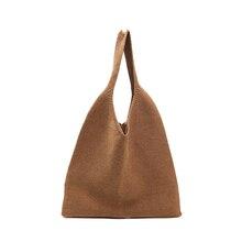 Knitted Stripe Fashion One Shoulder Lady Bag Large Pocket Simple Designer Cotton Tote Foldable Reusable Open Ms. Handbag
