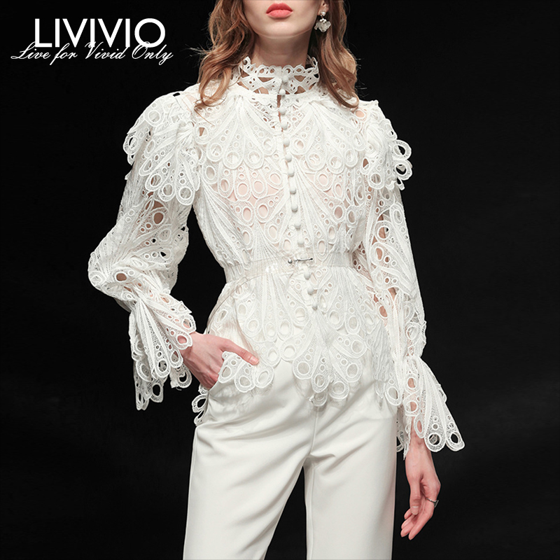 [LIVIVIO] Hollow Out Lace Ruffled Women's Shirts Stand Neck Long Sleeve White And Black Ladies Fashion Blouses