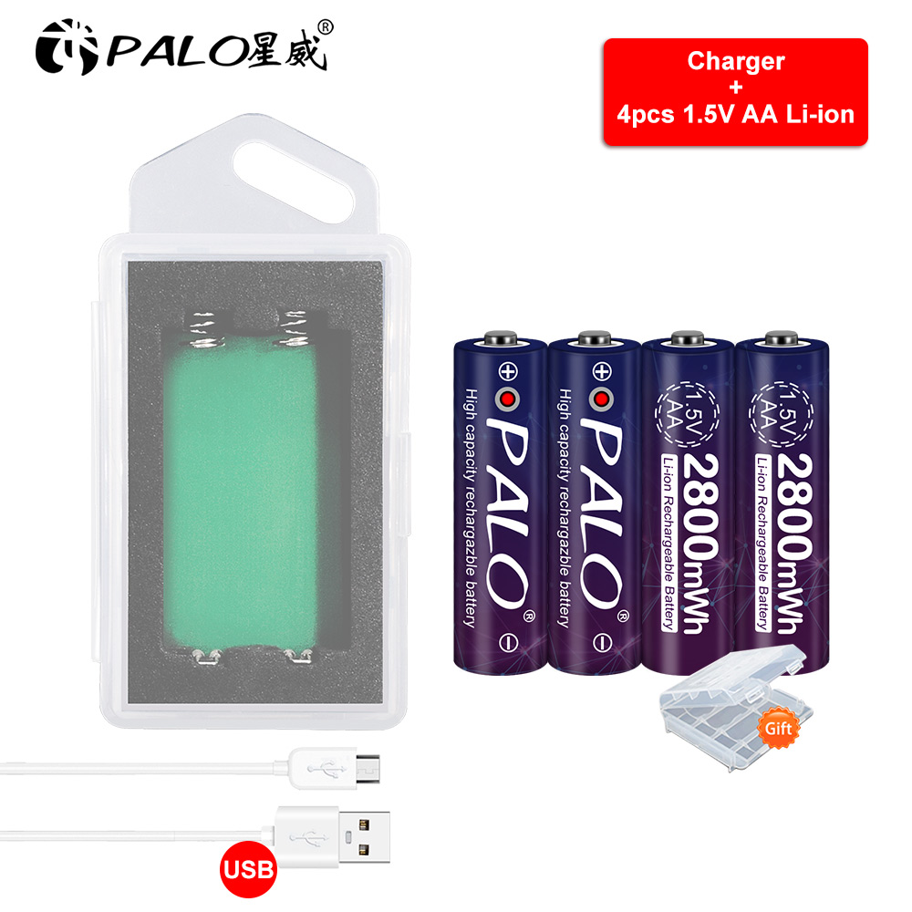 1.5V lithium battery aa li ion rechargeable batteries with USB charger image