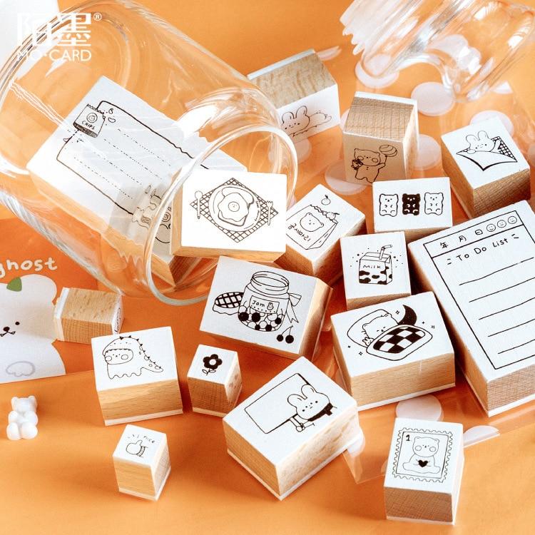 Vintage Cartoon Bear Rabbit List Memo Stamp DIY Wooden Rubber Stamps For Scrapbooking Stationery Scrapbooking Standard Stamp