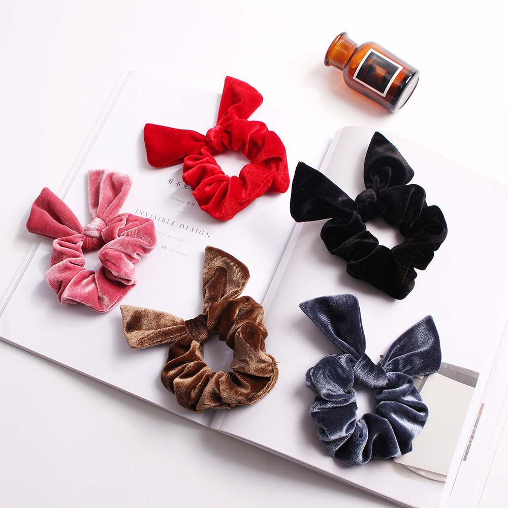 Fashion Cute Rabbit Ear Hair Rings Hair Rope Elastic Hair Bands Hairties Velvet Bow Ponytail Holder For Women,Girls